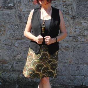 Falda elástica midi Retro Verde