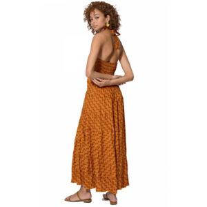 Vestido Boho Largo Naranja
