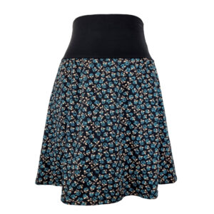 Falda elástica midi Rosas Azules