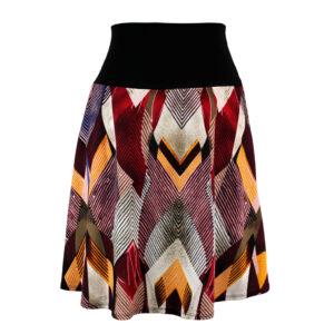 Falda elástica midi Retro Triángulos Rojo