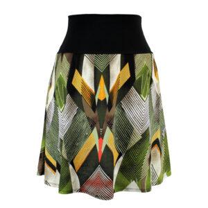 Falda elástica midi Retro Triángulos Verde