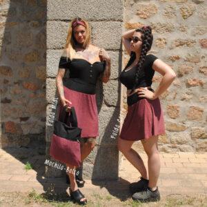 Falda elástica midi Roja