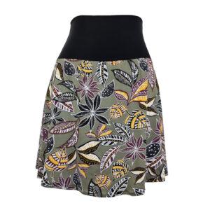 Falda elástica midi Tribal Hojas